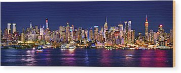 New York City Nyc Midtown Manhattan At Night Wood Print by Jon Holiday