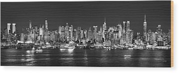 New York City Nyc Skyline Midtown Manhattan At Night Black And White Wood Print by Jon Holiday