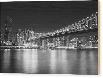 New York City - Queensboro Bridge At Night Wood Print by Vivienne Gucwa
