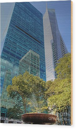 New York City Reflections Wood Print by Bob Hislop