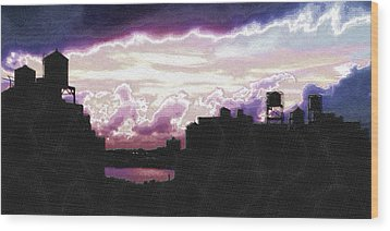 New York City Rooftops Wood Print by Tony Rubino