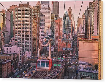 New York City - Skycrapers And The Roosevelt Island Tram Wood Print by Vivienne Gucwa