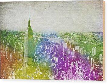 New York City Skyline Wood Print by Aged Pixel