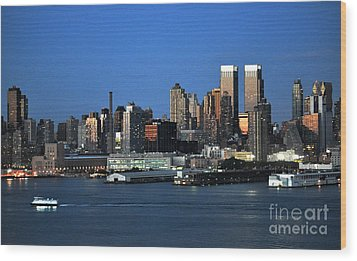 New York City Skyline At Dusk Wood Print