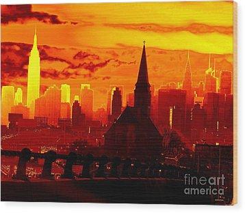 New York City Skyline Inferno Wood Print by Ed Weidman
