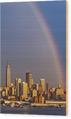 New York City Skyline Rainbow Wood Print by Susan Candelario