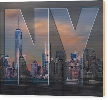 Wood Print featuring the photograph New York City Skyline by Steve Zimic