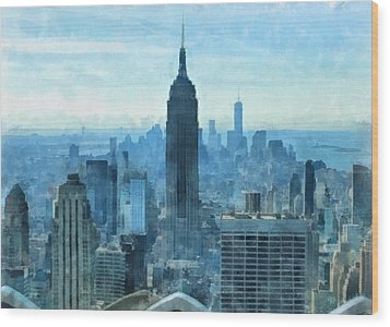 New York City Skyline Summer Day Wood Print by Dan Sproul