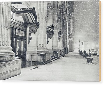 New York City - Snowy Winter Night Wood Print by Vivienne Gucwa