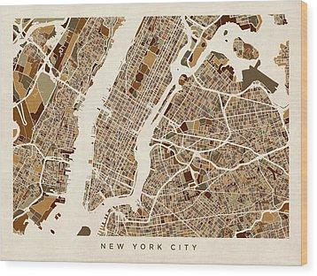 New York City Street Map Wood Print by Michael Tompsett