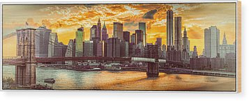 New York City Summer Panorama Wood Print by Chris Lord