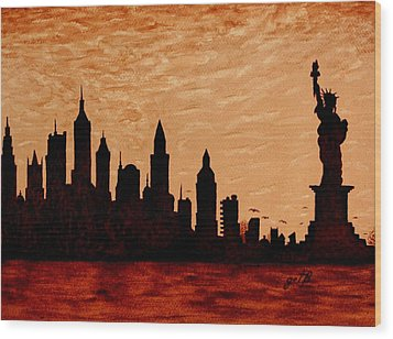 New York City Sunset Silhouette Wood Print by Georgeta  Blanaru