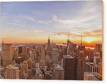 New York City - Sunset Skyline Wood Print