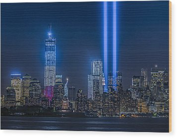 New York City Tribute In Lights Wood Print by Susan Candelario
