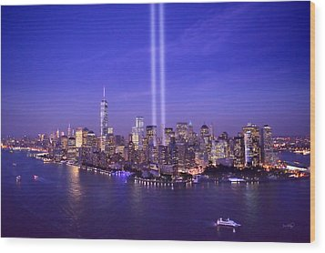 Wood Print featuring the photograph New York City Tribute In Lights World Trade Center Wtc Manhattan Nyc by Jon Holiday