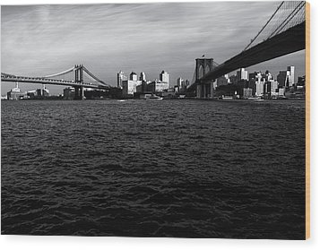New York City - Two Bridges Wood Print by Vivienne Gucwa