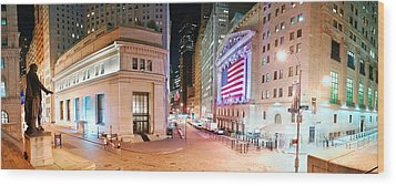 New York City Wall Street Panorama Wood Print