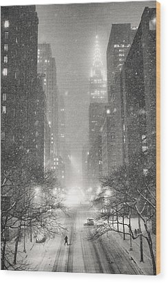 New York City - Winter Night Overlooking The Chrysler Building Wood Print by Vivienne Gucwa