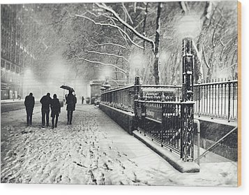 New York City - Winter - Snow At Night Wood Print by Vivienne Gucwa