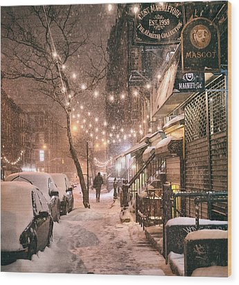 New York City - Winter Snow Scene - East Village Wood Print