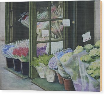 New York Flower Shop Wood Print by Rebecca Matthews