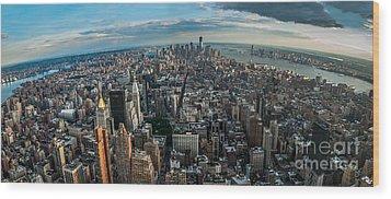 New York From A Birds Eyes - Fisheye Wood Print by Hannes Cmarits