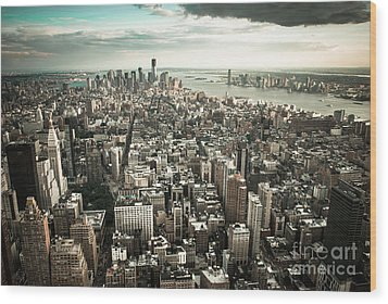 New York From Above - Vintage Wood Print by Hannes Cmarits