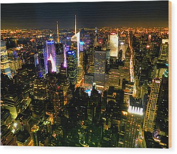 New York - From The Empire State Building 003 Wood Print by Lance Vaughn
