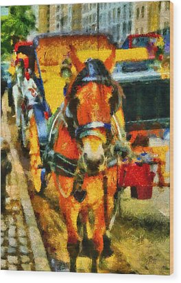 New York Horse And Carriage Wood Print by Dan Sproul