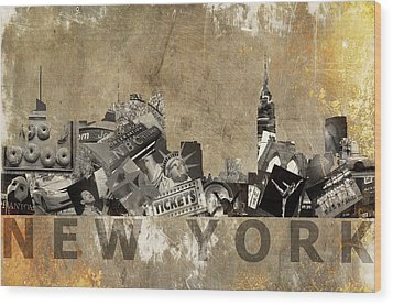 New York City Grunge Wood Print by Suzanne Powers