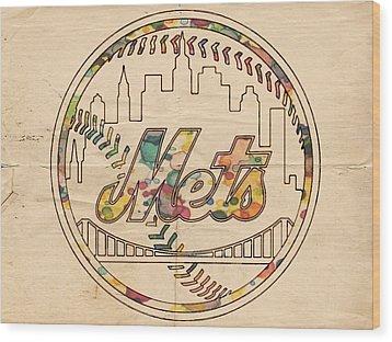 New York Mets Poster Vintage Wood Print