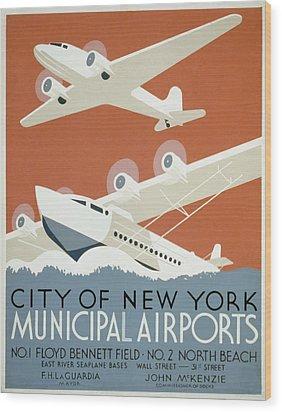 New York Municipal Airport Wood Print