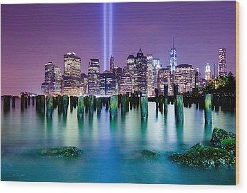 New York Pier Tribute Wood Print by Shane Psaltis