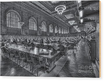 New York Public Library Main Reading Room V Wood Print by Clarence Holmes