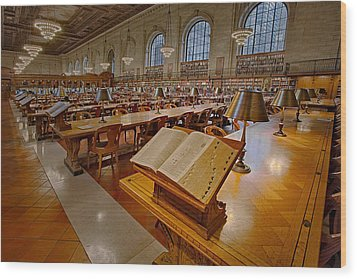 New York Public Library Rose Main Reading Room  Wood Print by Susan Candelario