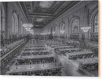 New York Public Library Rose Room Bw Wood Print by Susan Candelario