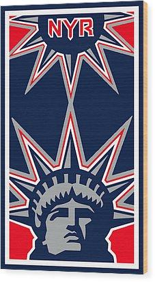New York Rangers Wood Print by Tony Rubino