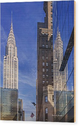 New York Reflections 20 Wood Print by Angela A Stanton