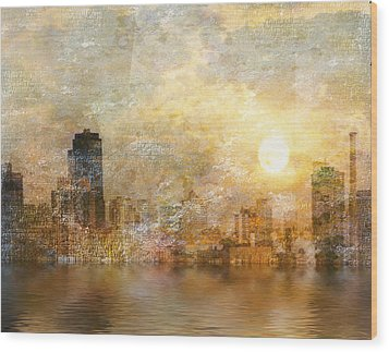 New York River Sunrise Wood Print