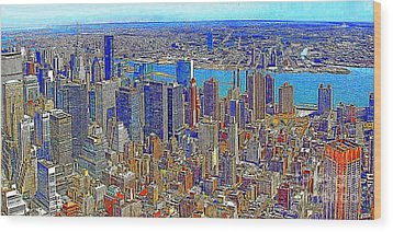 New York Skyline 20130430 Wood Print by Wingsdomain Art and Photography