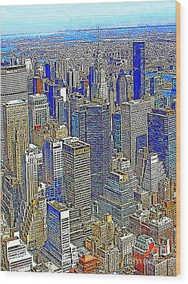 New York Skyline 20130430v2 Wood Print by Wingsdomain Art and Photography