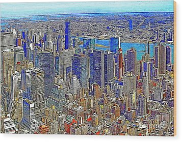 New York Skyline 20130430v3 Wood Print by Wingsdomain Art and Photography