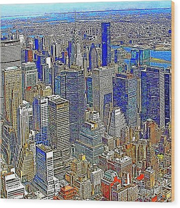 New York Skyline 20130430v4-square Wood Print by Wingsdomain Art and Photography
