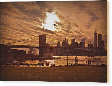 New York Skyline And Brooklyn Bridge -- Late Afternoon Wood Print by Mitchell R Grosky