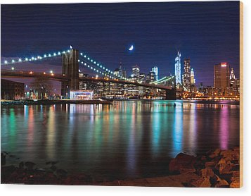 Wood Print featuring the photograph New York Skyline And Brooklyn Bridge With Crescent Moon Rising by Mitchell R Grosky
