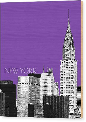 New York Skyline Chrysler Building - Purple Wood Print by DB Artist