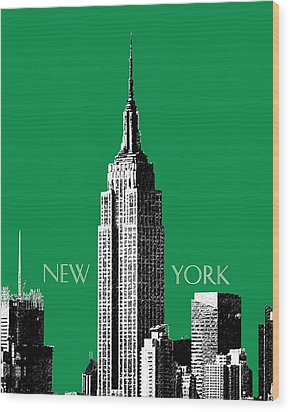 New York Skyline Empire State Building - Forest Green Wood Print by DB Artist