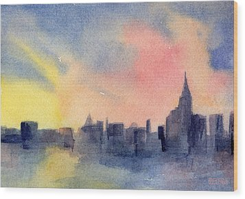 New York Skyline Empire State Building Pink And Yellow Watercolor Painting Of Nyc Wood Print by Beverly Brown Prints
