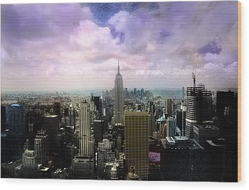 Wood Print featuring the photograph New York City Skyline - Infrared - Color by Dave Beckerman