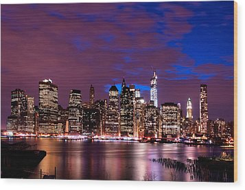 Wood Print featuring the photograph New York Skyline Magic Hour-- From Brooklyn Heights Promenade by Mitchell R Grosky